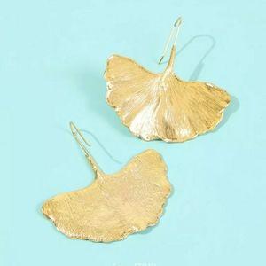18K Gold Plated Large Gingko Leaf Earrings